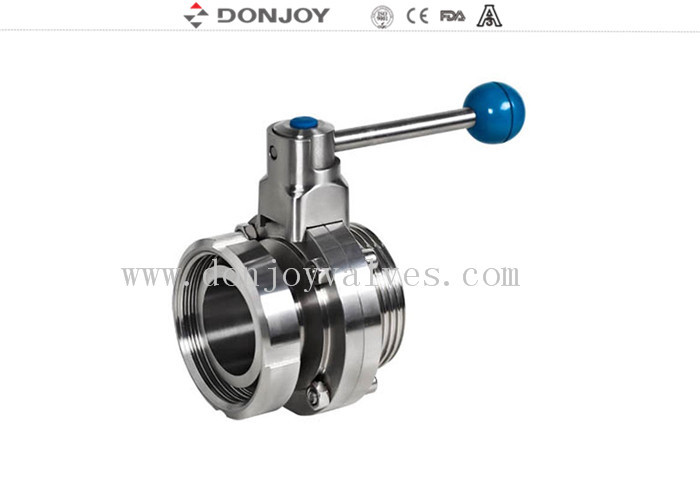 DN10-DN300 sanitary stainless steel butterfly valves with nut and thread connection ends