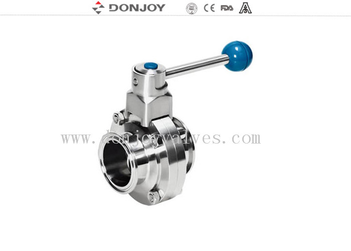 Stainless Steel Clamped End actuated butterfly valve High purty Pull hand