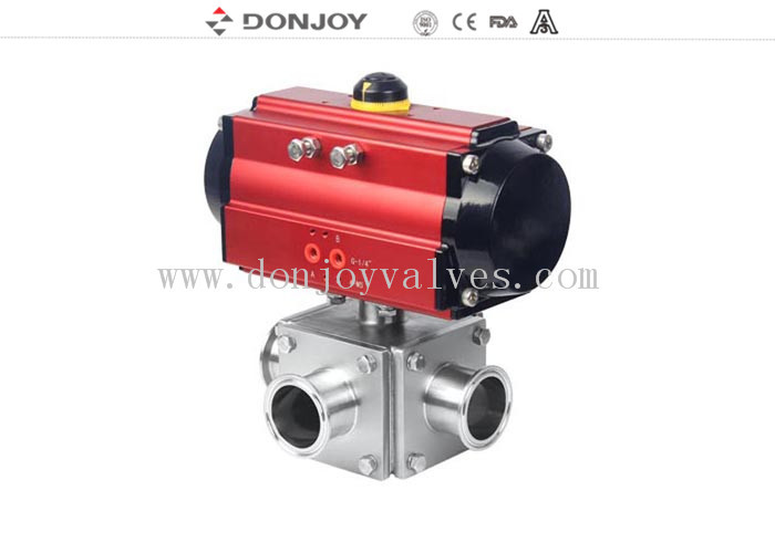 Sanitary Ball Valve Aluminum pneumatic actuator three-way non-retention L type and full port