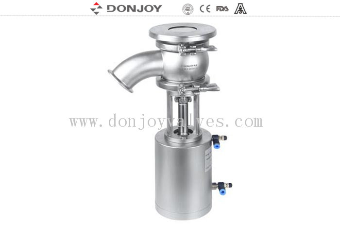 Pneumatic Tank Bottom Valve High Performance DN30 With 90° Elbow