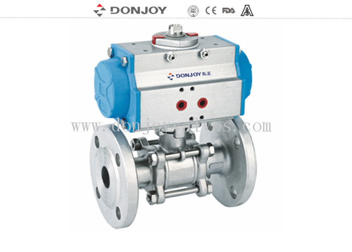 Stainless steel Pneumatic 3pcs industrial full port Ball valve With flange connection