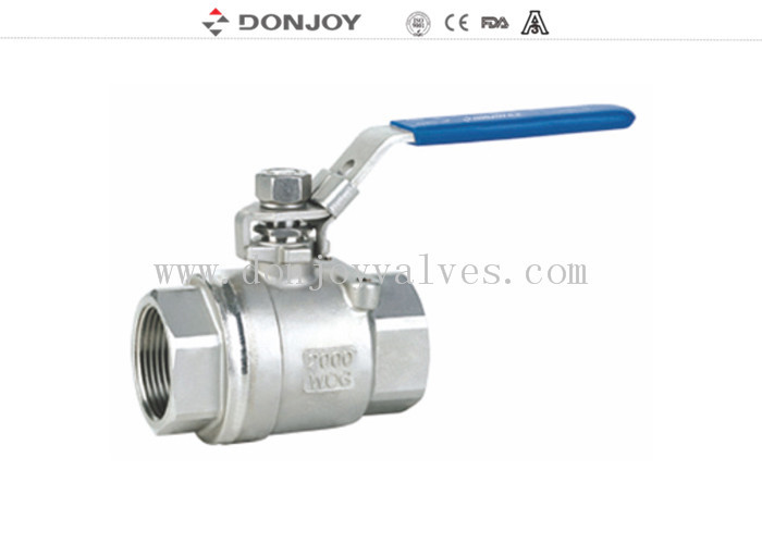 SS304 2 Peice  Sanitary Ball Valve With manual plastic handle