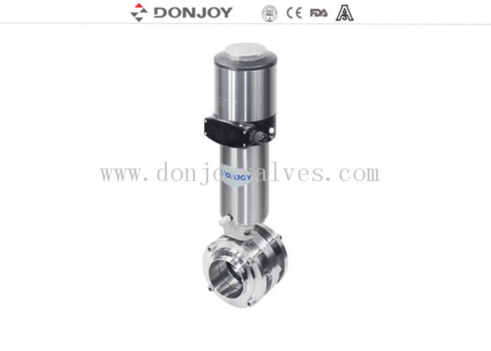 High purity butterfly valves sanitary pneumatic mixture proof  with actuator positioner