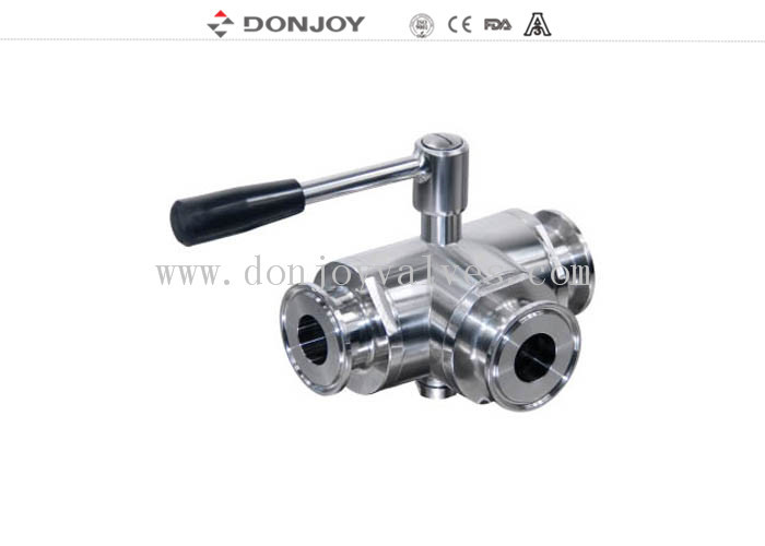 DN10-DN100 Manual Three Way  Sanitary Ball Valve with clamped Connection