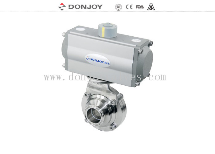 DN50 Horizontal Actuator Pneumatic  butterfly ball valve  with clamped connection